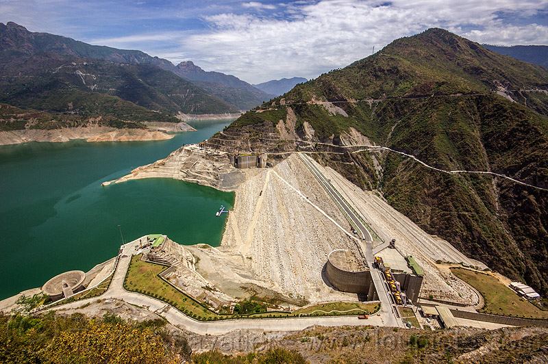 tehri dam - rock and earth-fill embankment dam (india), artificial lake, bhagirathi river, bhagirathi valley, hydro electric, india, mountains, reservoir, tehri dam, tehri lake