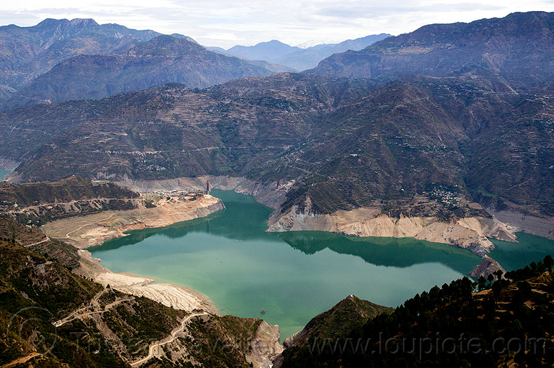 tehri reservoir - bhagirathi valley (india), artificial lake, bhagirathi river, mountains, tehri lake, water