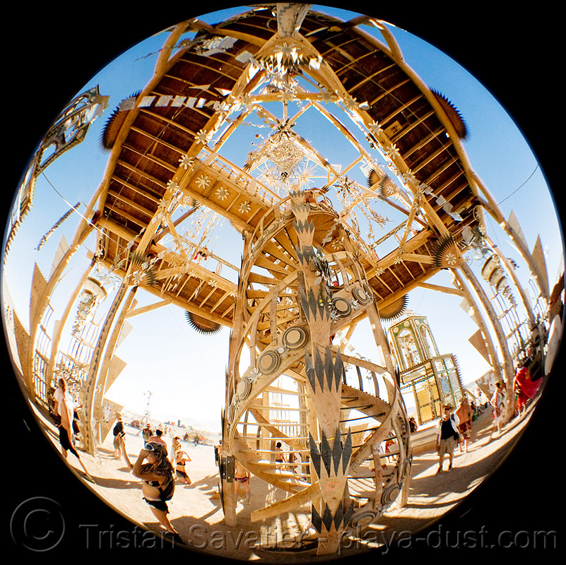 the temple - basura sagrada - burning man 2008, circular fisheye lens, circular stairs, double-helix, spiral stairs, stairwell