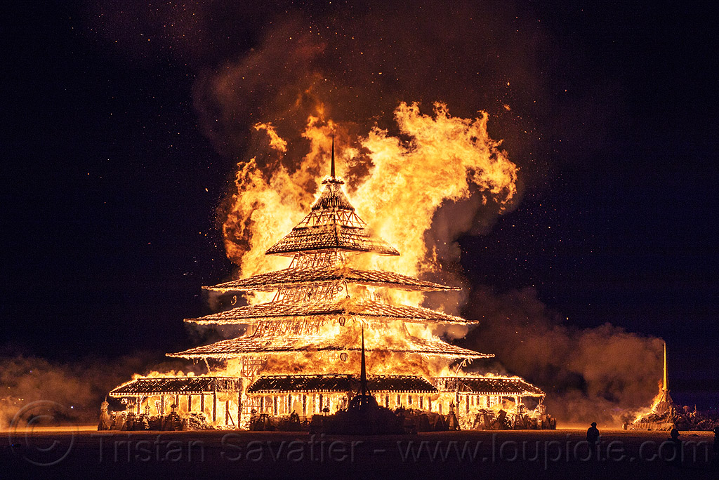 the temple burns - burning man 2016, burn, burning man, fire, flame, night, temple