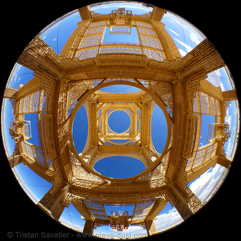 temple of forgiveness - burning man 2007, burning man, circular fisheye lens, temple of forgiveness