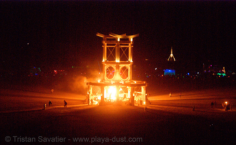 temple of forgiveness - burning man 2007, burn, burning man, fire, flames, night, temple burning, temple of forgiveness