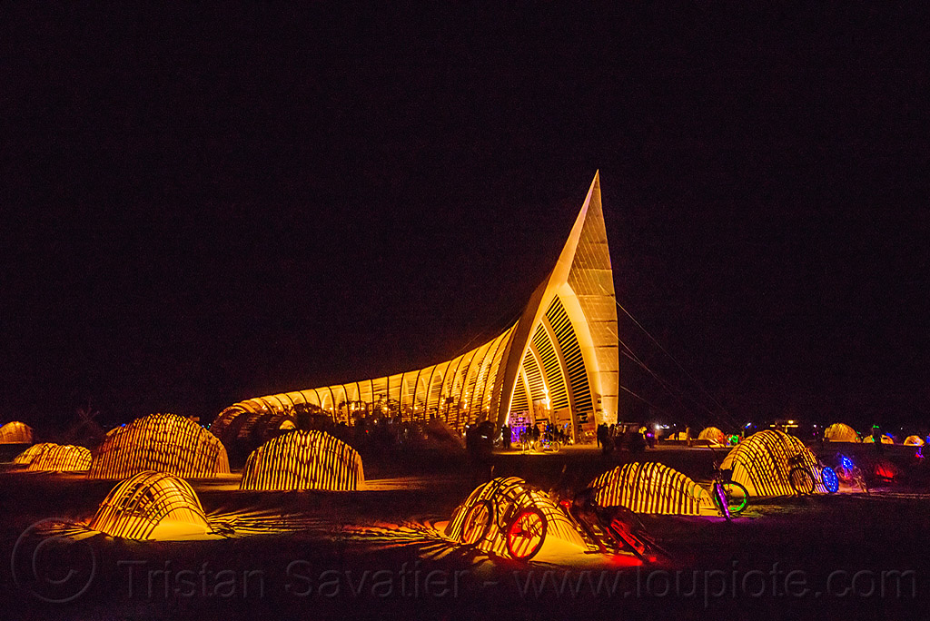 temple of promise at night - burning man 2015, architecture, bicycles, people
