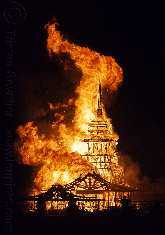 temple on fire - burning man 2012, flames, night