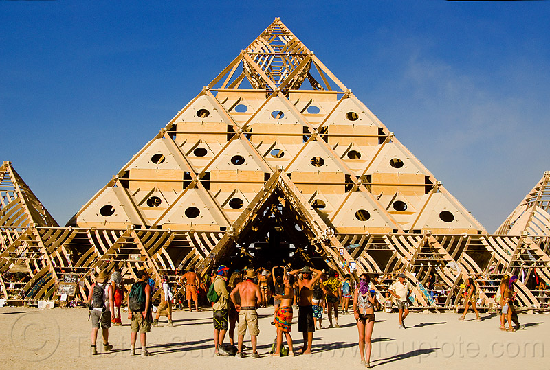 temple pyramid entrance - burning man 2013, people, temple of whollyness, wooden pyramid