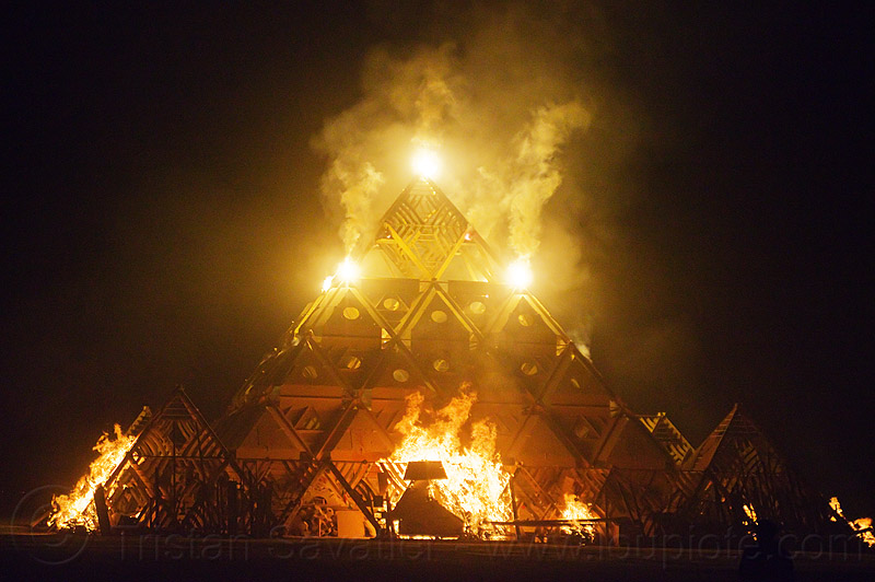 temple set ablaze - burning man 2013, burning man, fire, flames, night, pyrotechnics, temple of whollyness, wooden pyramid