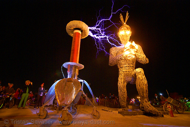 tesla coil electric arcs and crude awakening - burning man 2007, art installation, burning man, electric arc, electric discharge, fire, high voltage, lightnings, night, plasma filaments, sculpture, static electricity, tesla coil