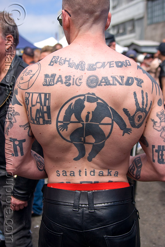 text fonts back tattoo, back piece, dore alley fair, fonts, laughing love dog, magic candy, man, saatidaka, tattooed, tattoos, text