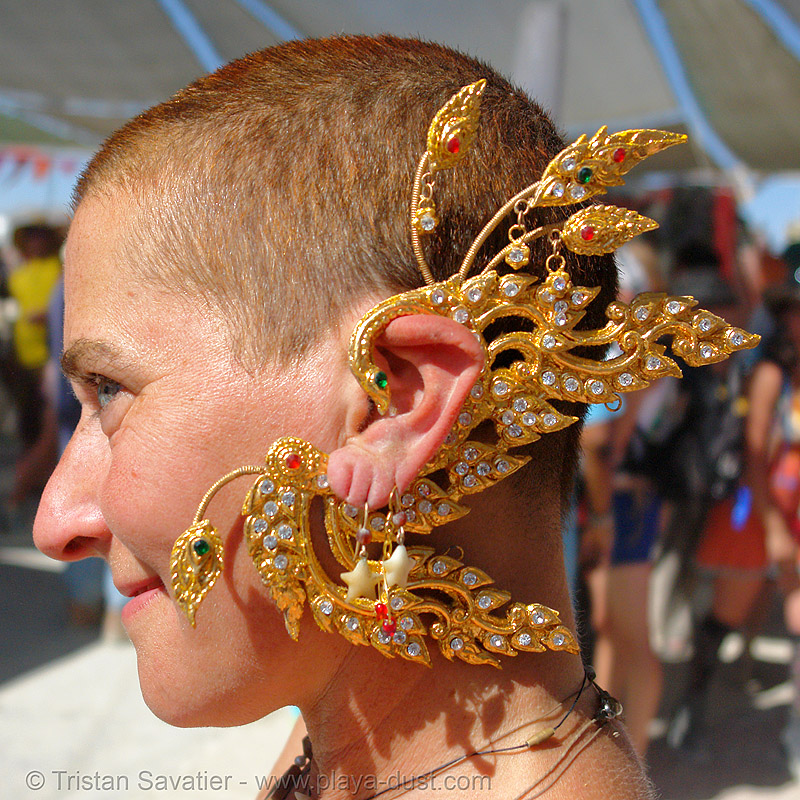 ear jewelry - burning-man 2006, art, burning man, center camp, ear jewelry