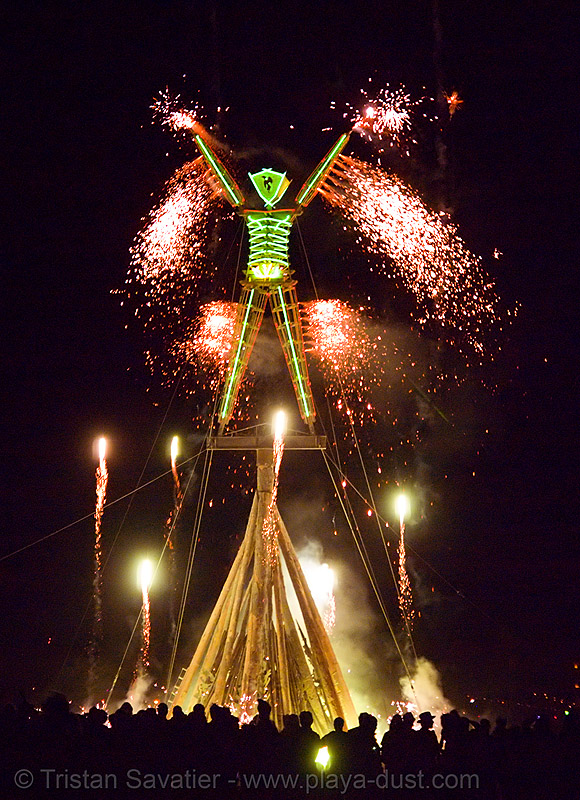 the man burns - burning man 2007, burning man, fire, fireworks, night of the burn, phenix, pyrotechnics, the man