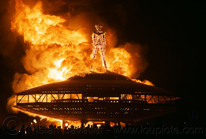 the man burns - burning man 2013, burning man, fire, flames, night, the man