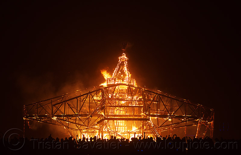 burning man 2013, burning man, fire, flames, night, the man