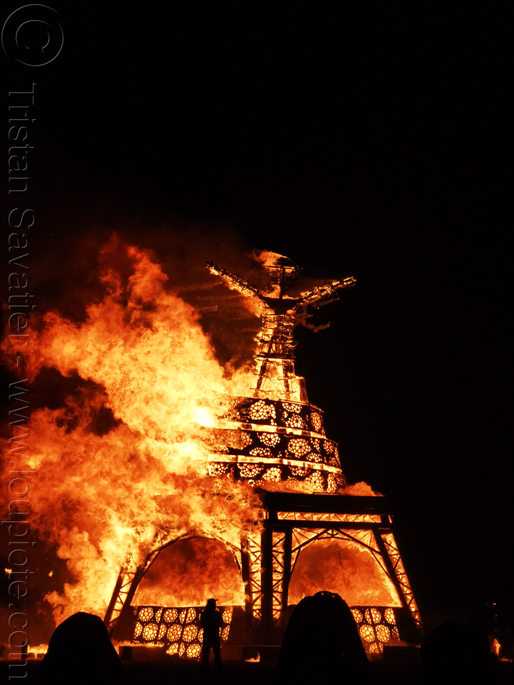 the man is burning - burning man 2019, burning man, fire, night of the burn, the man