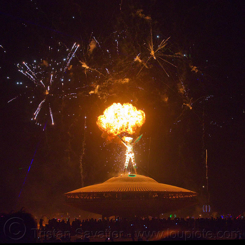 the man is set ablaze by a pyrotechnic explosion - burning man 2013, burning man, explosion, fire, fireworks, night of the burn, pyrotechnics, the man