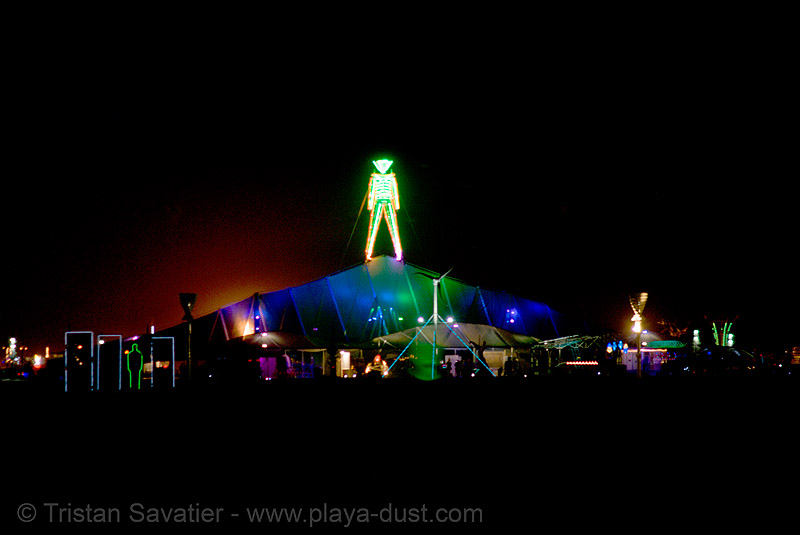 the man, shortly before it was set ablaze by an arsonist - burning man 2007, burning man, first man, night, pavillion, the man
