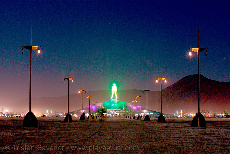 the man, shortly before it was set ablaze by an arsonist - burning man 2007, burning man, first man, lamp poles, night, pavillion, the man