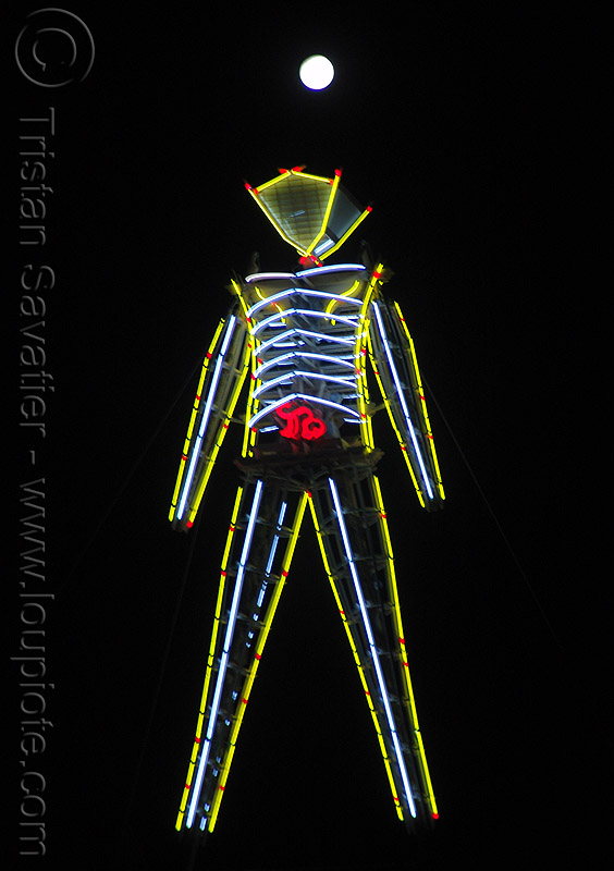 the man under the full moon - burning man 2009, neon, night, yellow