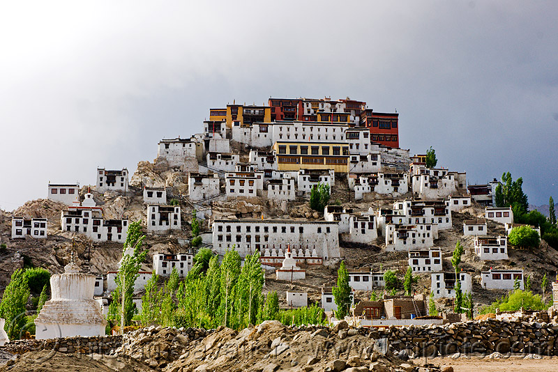 thiksey monastery - thiksey gompa, architecture, gompa, hill, houses, ladakh, leh valley, thikse, thiksey, tibetan monastery