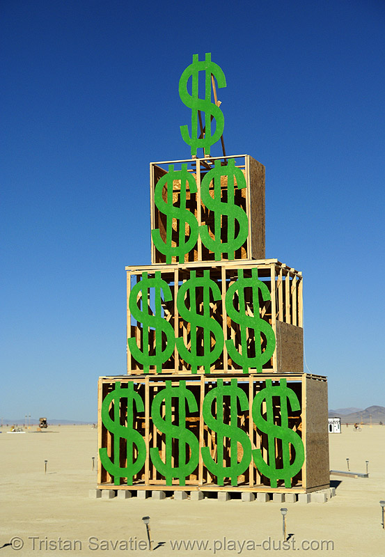 think green - burning man 2007, art installation, burning man, dollars, pyramid, think green