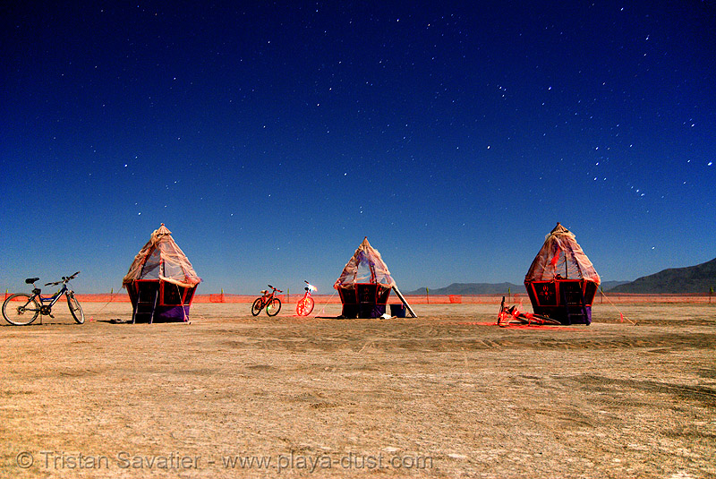 "this installation is called ""eggs"" - burning man 2007, art installation, burning man, eggs, felonius asparagus, huts, night, orion, stars, the hunter"