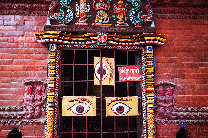 three eyes on hindu temple door - kathmandu (nepal), grid, hinduism