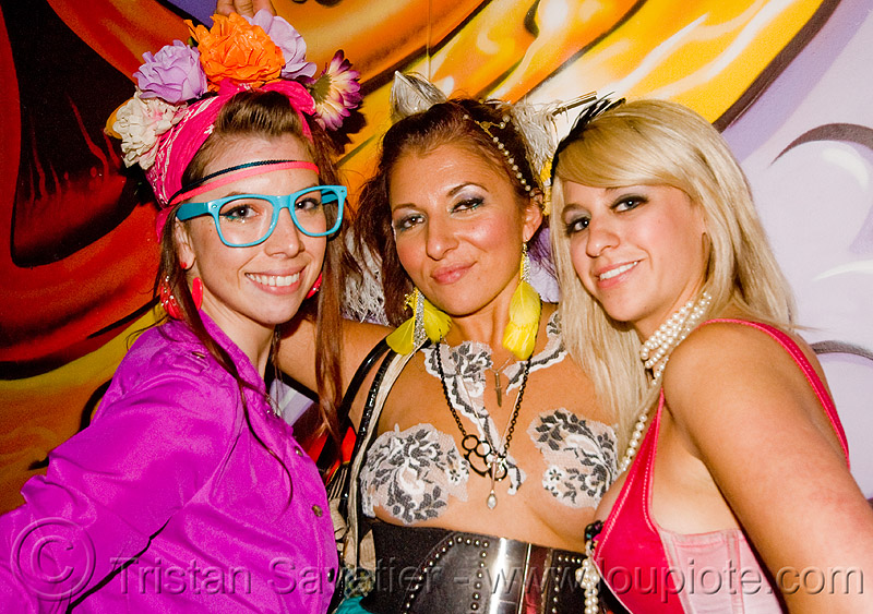 three girls at the sand by the ton rave party (oakland), mural, nadia, painting, people, raver, women