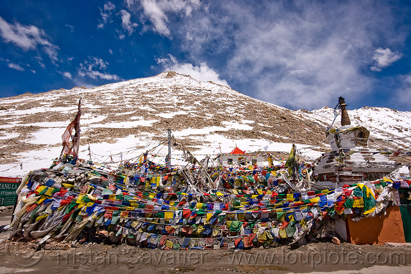 tibetan prayer flags - chang-la pass - ladakh (india), buddhism, chang pass, mountain pass, mountains