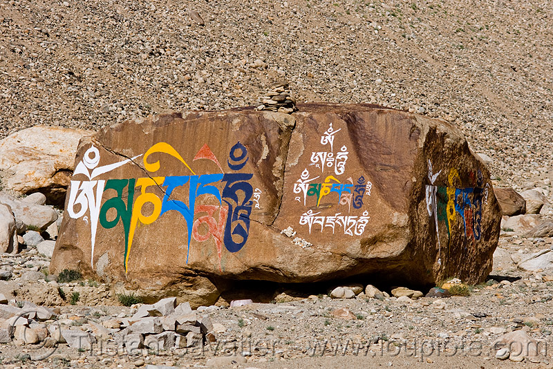 tibetan prayer stone, ladakh, mani stone, painted, rock