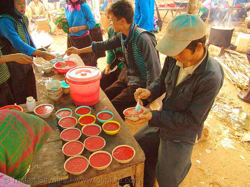 tiết canh (tiet canh) is raw blood soup - vietnam, bowls, breakfast, coagulated blood, dishes, duck blood, food, hill tribes, indigenous, mèo vạc, poultry, raw blood soup, red, tiet canh, tiết canh, vietnam