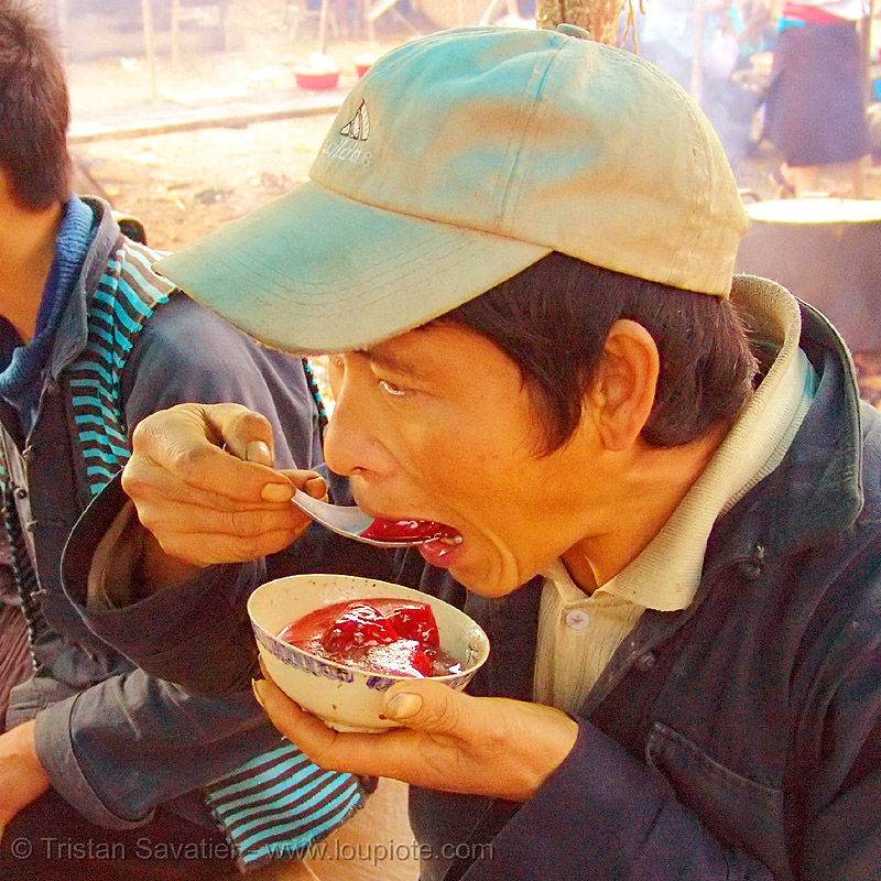 tiết canh (tiet canh) is raw blood soup - vietnam, bowl, breakfast, coagulated blood, dish, duck blood, food, hill tribes, indigenous, man, market, mèo vạc, poultry, raw blood soup, red, tiet canh, tiết canh