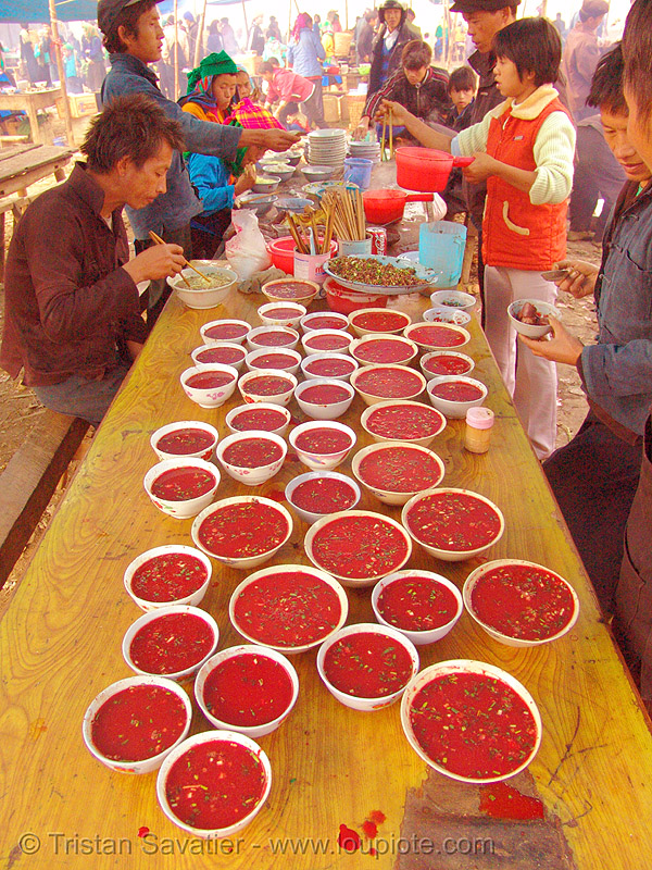 tiết canh (tiet canh) is raw blood soup - vietnam, bowls, breakfast, coagulated blood, dishes, duck blood, hill tribes, indigenous, market, mèo vạc, poultry, raw blood soup, raw food, red, street food, table, tiet canh, tiết canh