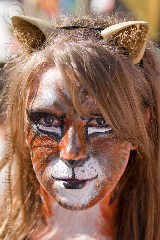 tiger face paint - cat ears headband, cat ears headband, facepaint, how weird festival, rachel, tiger face paint, woman
