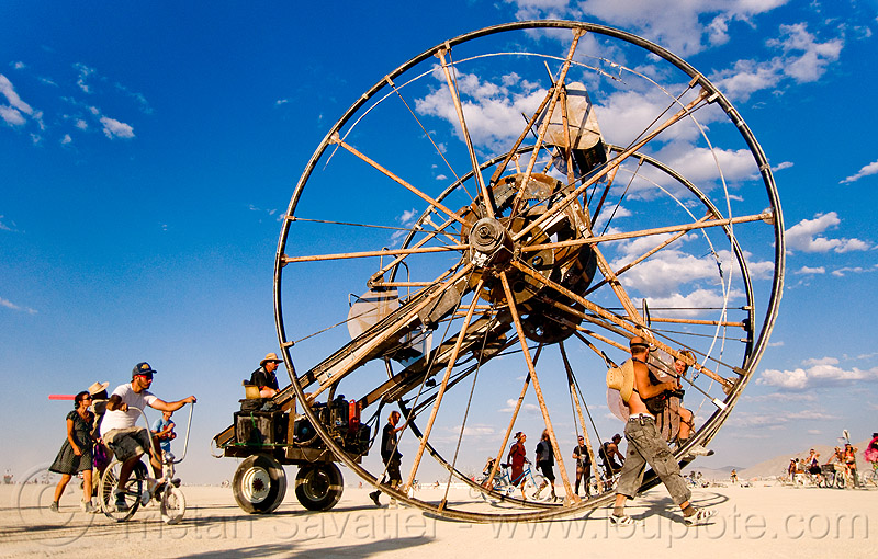 the time cycle - burning man 2009, art car, burning man, ferris wheel, homer wells, mutant vehicles, time cycle
