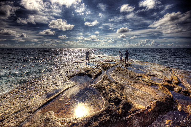 tip of borneo - tanjung simpang mengayau, backlight, cape, clouds, men, ocean, people, pools, rock, rocky, sea, seashore, shore, stone, tide pools