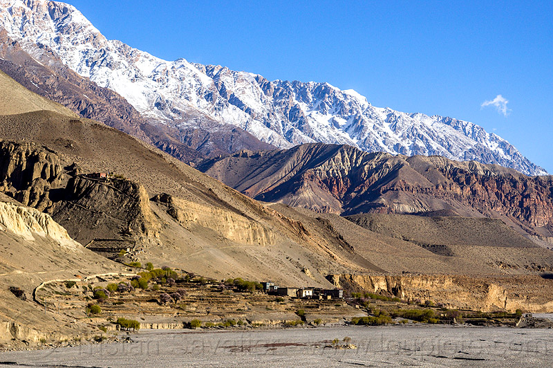 tiri - mustang district (nepal), annapurnas, kagbeni, kali gandaki valley, mountains, snow, village