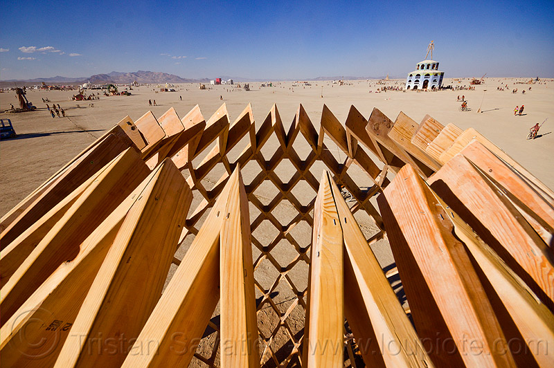 the top of the wooden egg - burning man 2012, art installation, burning man, c.o.r.e., circle of regional effigies, core project, opalessence, wooden egg, wooden frame
