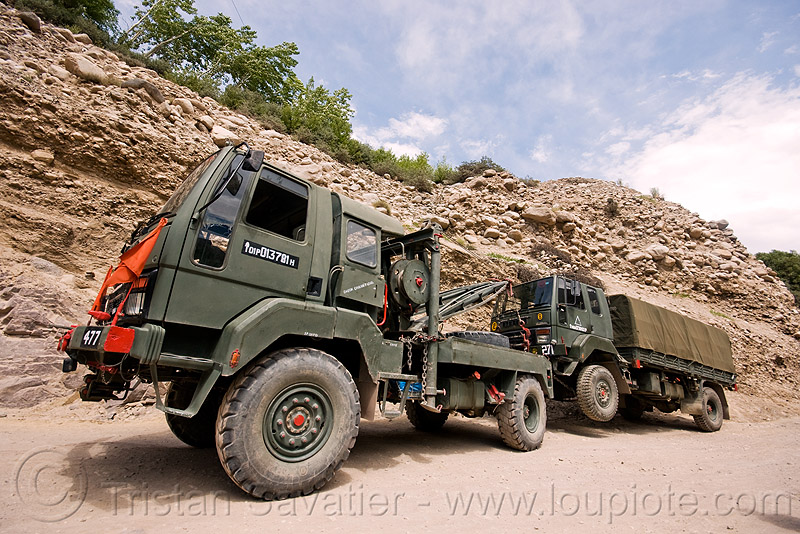 towed military truck - ladakh (india), army truck, indian army, ladakh, lorry, military truck, road, tow truck, towed, trucks