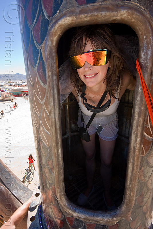 tower access door - burning man 2010, bryan tedrick, burning man, door, mirror sunglasses, the minaret, tower, woman