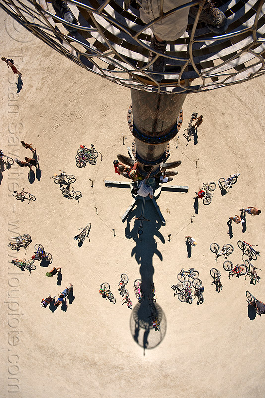 tower shadow - burning man 2010, bicycles, bikes, bryan tedrick, burning man, cage, climbing, shadow, the minaret, tower
