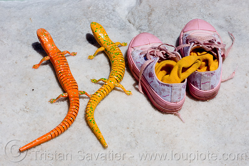 toy lizards and pink tennis shoes, halite, jujuy, lizards, noroeste argentino, orange, pink, rock salt, salar, salinas grandes, salt bed, salt flats, salt lake, tennis shoes, toys, two, white, yellow