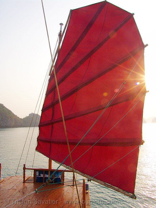 traditional junk-boat sail - vietnam, boat, cat ba island, chinese junk, cát bà, halong bay, red, sail, sea