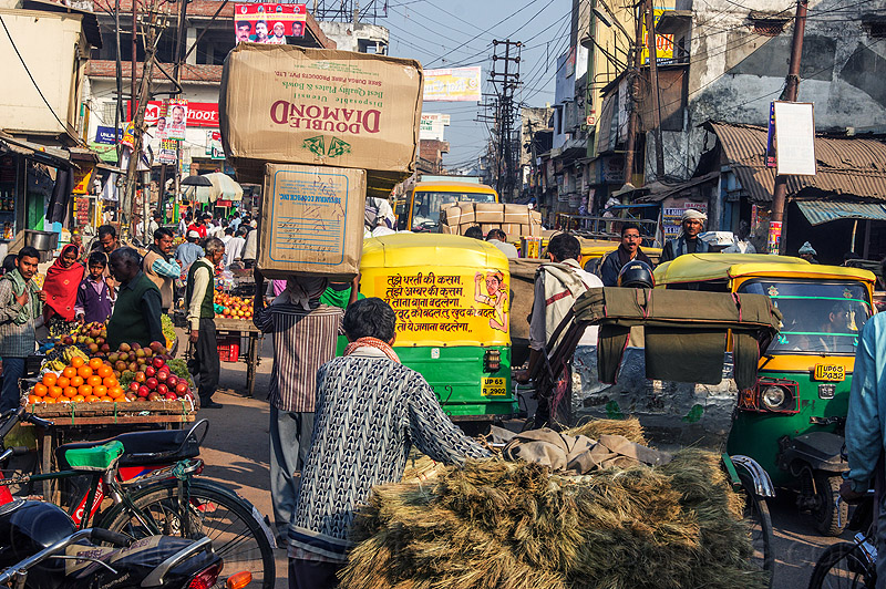 traffic jam on busy market street (india), auto rickshaws, street market, traffic jam, varanasi