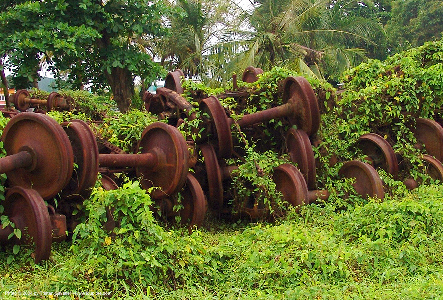 train axles - pelmel - rusty, abandoned, atlantic railway, costa rica, decay, puerto limon, rusted, train depot, train wheels, train yard, trespassing, urban exploration