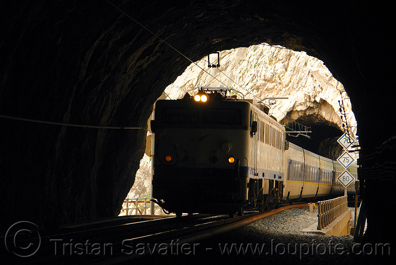train in tunnel, desfiladero de los gaitanes, el caminito del rey, el camino del rey, el chorro, electric, headlights, infrastructure, locomotive, passenger train, railroad, railway, signs, train engine, train tunnel, trespassing, urban exploration, urbex
