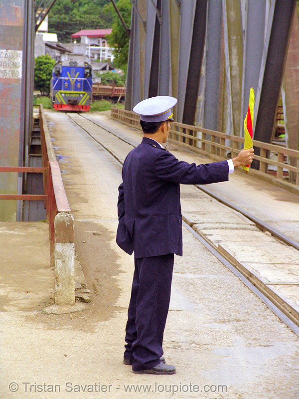 train on bridge - vietnam, flagman, rail bridge, rail tracks, railroad bridge, railroad tracks, railway tracks, train tracks, vietnam