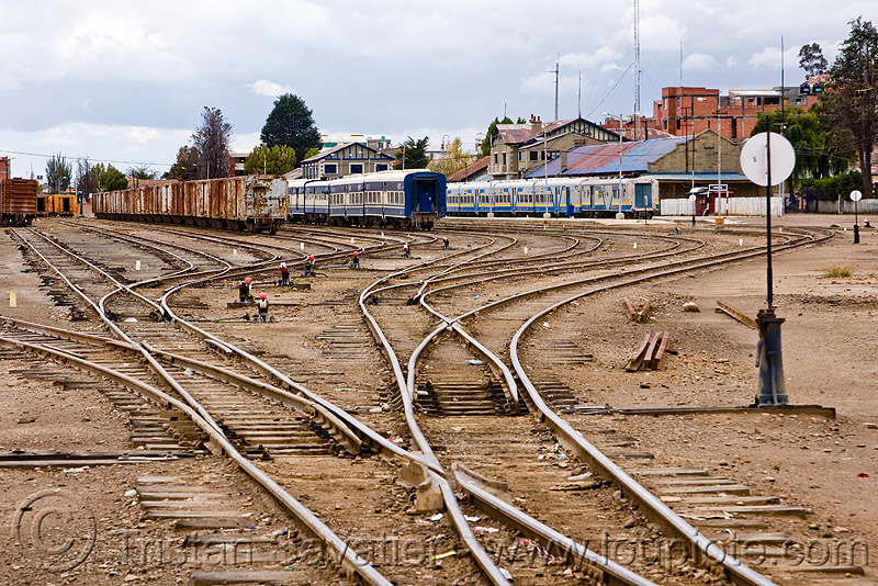 train yard - oruro train depot (bolivia), bolivia, deformed, enfe, expreso del sur, fca, metric gauge, narrow gauge, oruro, rail switches, railroad tracks, railway tracks, train depot, train station, train yard, trains