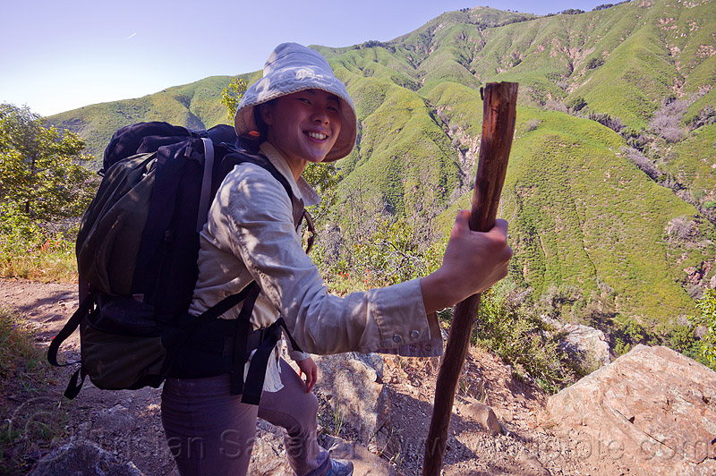 trekker with walking stick, backpack, backpacking, big sur, pine ridge trail, sharon, sun hat, trekking, vantana wilderness, walking stick, woman