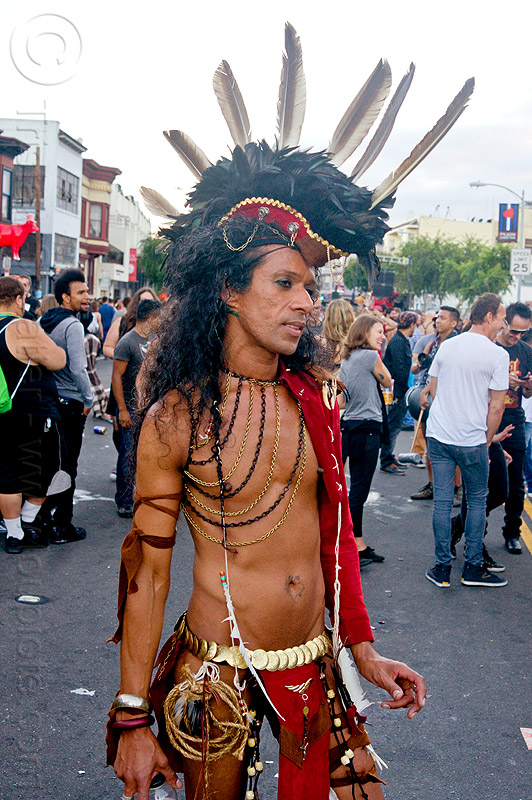 tribal native american costume - folsom street fair (san francisco), chains, feather headdress, feathers, indigenous, indigenous culture, man, people, tribal costume