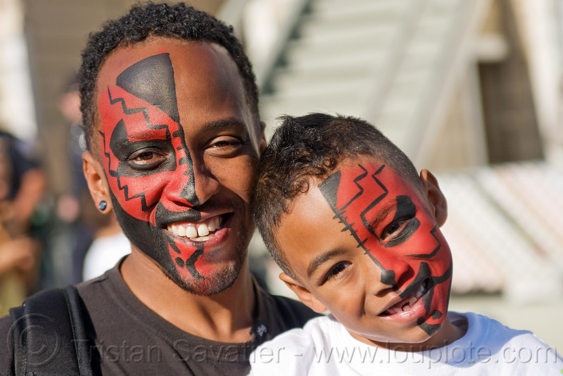 tribal red face paint - father and son, african american man, black man, child, father, half face, kid, red, son, tribal facepaint