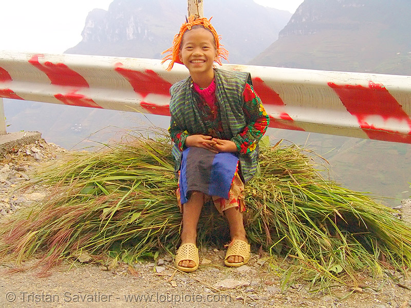 tribe girl carrying grass - vietnam, child, hill tribes, indigenous, kid, road, tribe girl